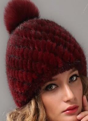 вязанная норковая шапка