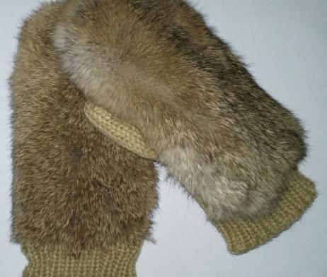 рукавицы из меха кролика